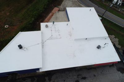 Final product of a commercial roof install in Atlanta