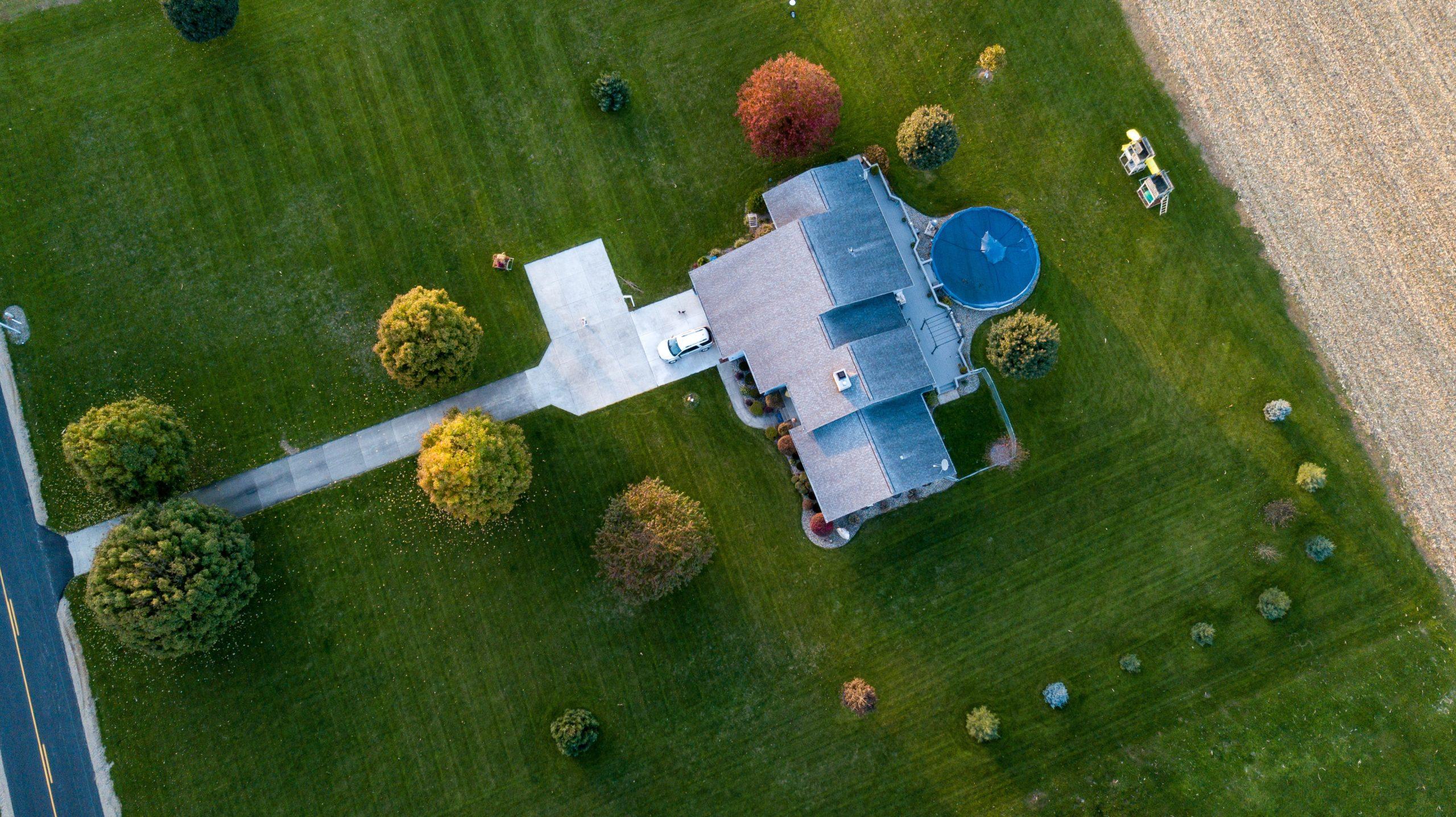 aerial view of roof repair process