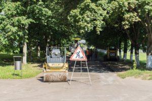 Driveway repair team hard at work.