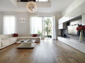 hardwood floor finished living room