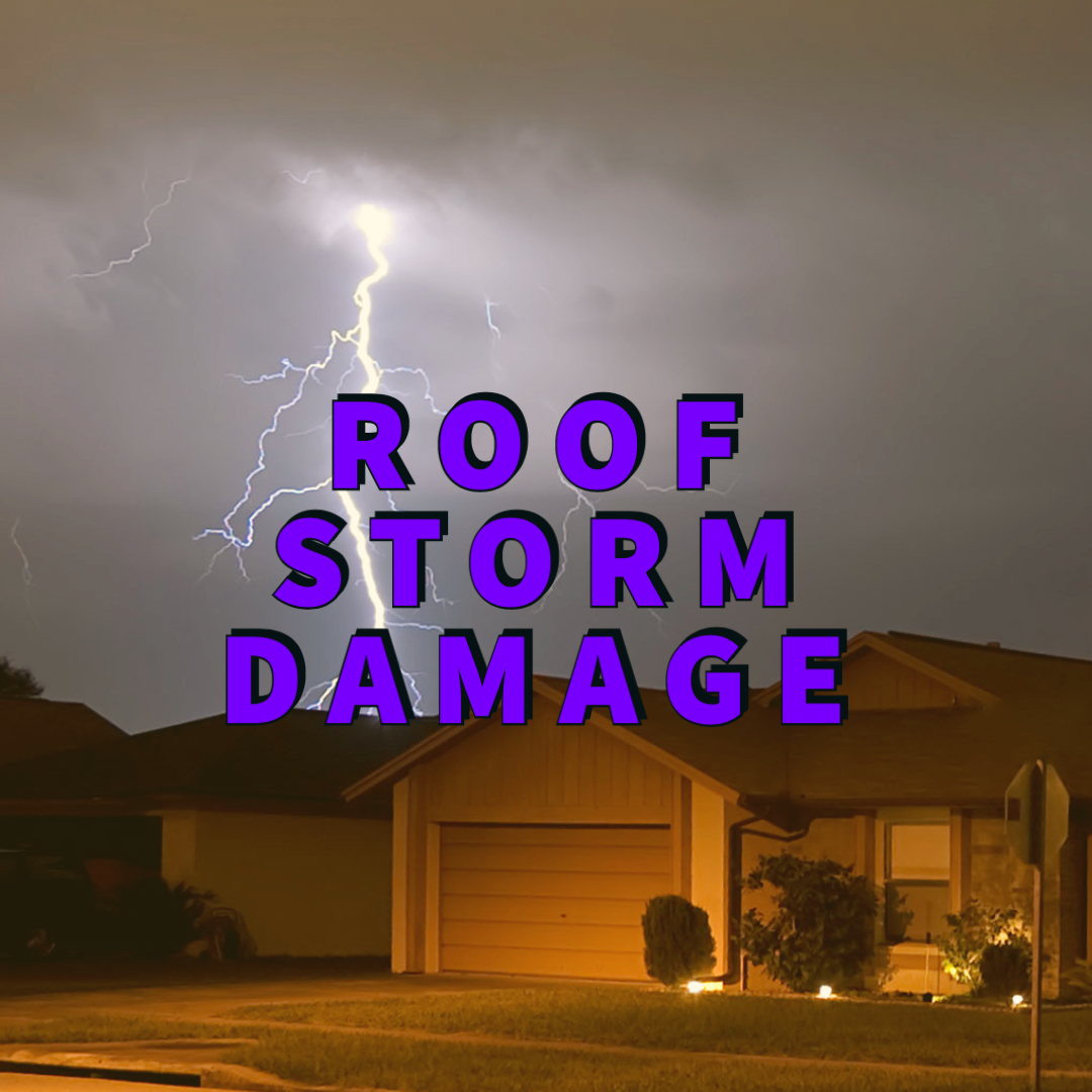 Roof storm damage written over house with lightning in background