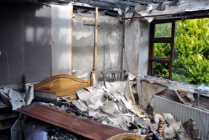 bedroom after house fire